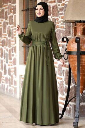 Haki Ceren Elbise - RZ15826 - Thumbnail