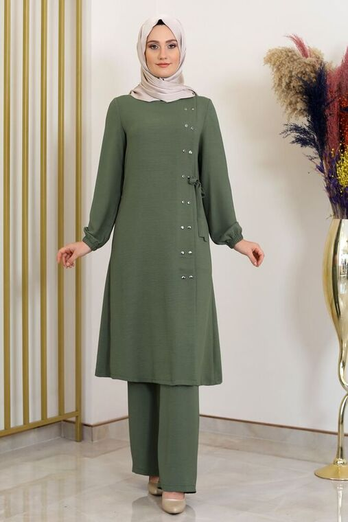 Fashion Showcase - Haki Çıtçıt Detay İkili Takım - FS16390