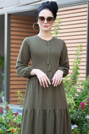 Haki Eda Elbise - SES15392 - Thumbnail