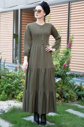 Selma Sarı - Haki Eda Elbise - SES15392