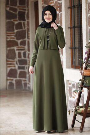 Nidya Moda - Haki Eylül Elbise - NM15789