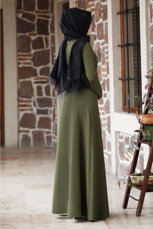 Haki Eylül Elbise - NM15789