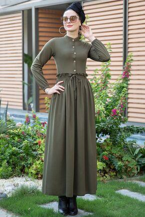 Selma Sarı - Haki Fırfırlı Elbise - SES15388