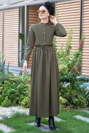 Haki Fırfırlı Elbise - SES15388 - Thumbnail