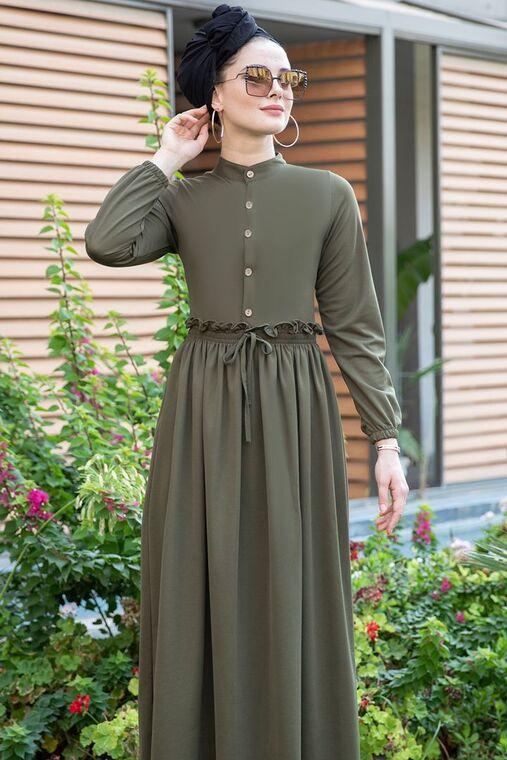 Haki Fırfırlı Elbise - SES15388