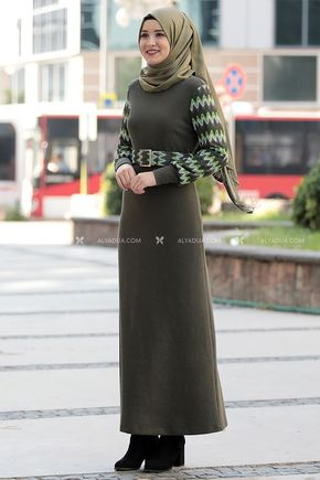 Haki Minel Elbise - RZ14191 - Thumbnail