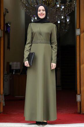 Haki Nergis Elbise - NM15950 - Thumbnail