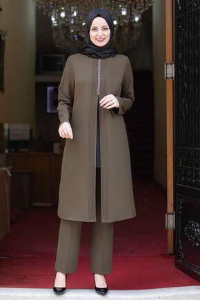 Fashion Showcase - Haki Nervürlü Taş Detay İkili Takım - FS15983
