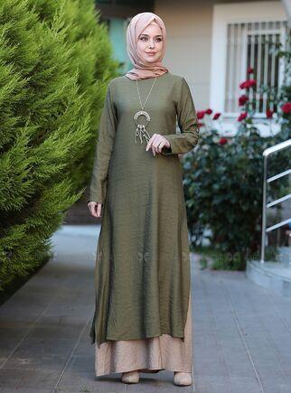 Emsale - Haki Otantik Elbise - ES15145