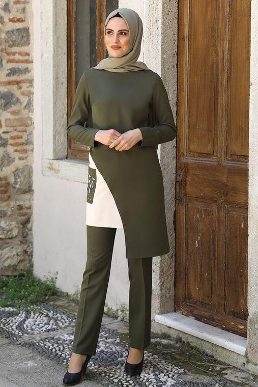 Nidya Moda - Haki Şehrazat İkili Takım - NM16047