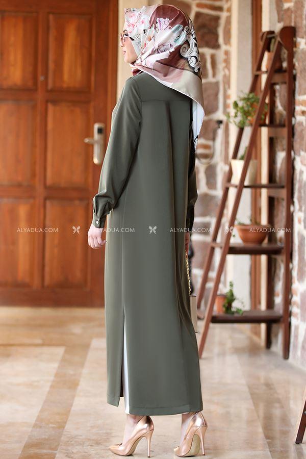 - Haki Uzun Tunik Pantolon Takım - AD13205 (1)