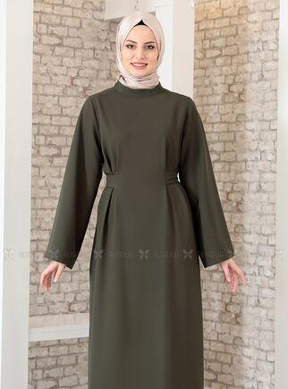 Haki Yonca Abaya Elbise - FS15209 - Thumbnail