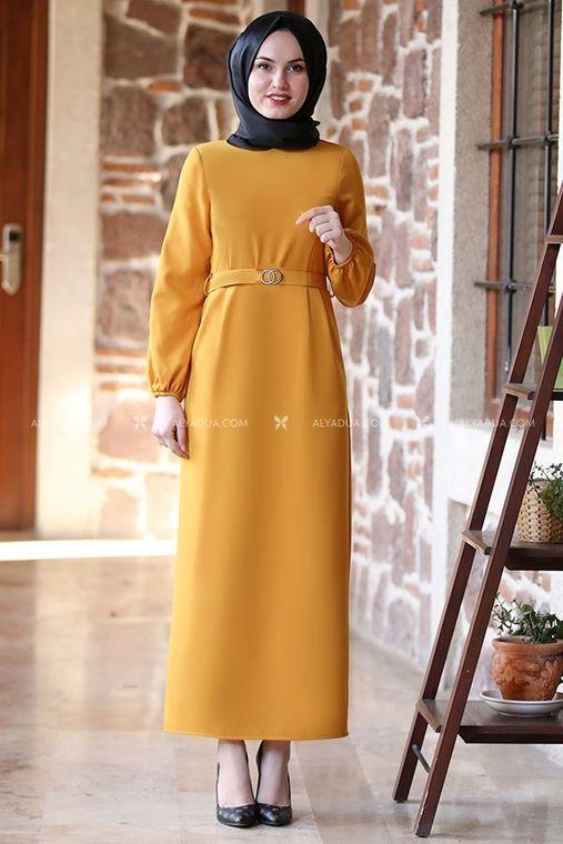 Alyadua - Hardal Balon Kol Elbise - AD13497
