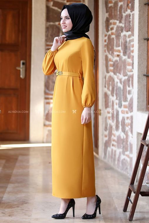Alyadua - Hardal Balon Kol Elbise - AD13497 (1)