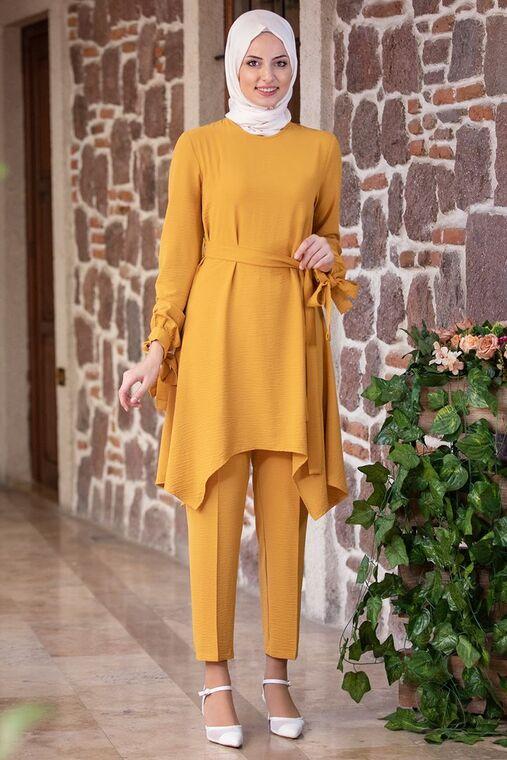 Fashion Showcase - Hardal Beli Bağcıklı Çarpraz Takım - FS15433
