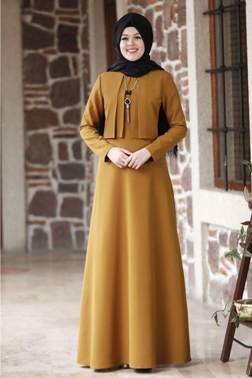 Nidya Moda - Hardal Eylül Elbise - NM15794
