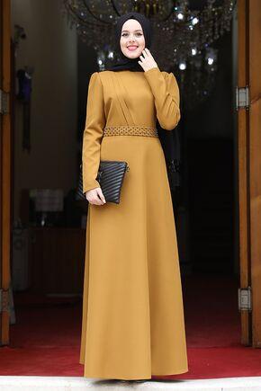 Nidya Moda - Hardal Nergis Elbise - NM15949