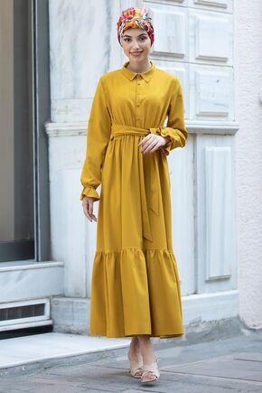 Piennar - Hardal Vera Büzgülü Elbise - PN15603