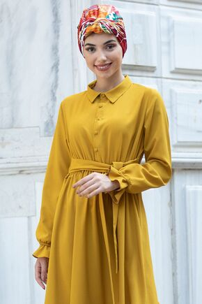Hardal Vera Büzgülü Elbise - PN15603 - Thumbnail