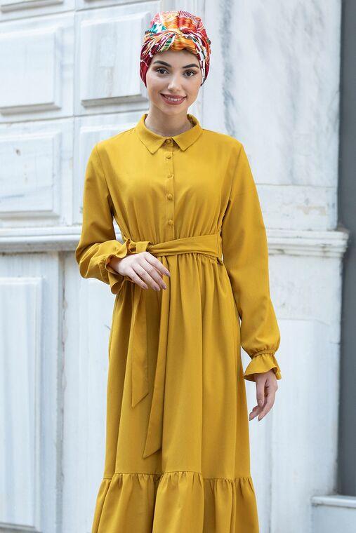 Hardal Vera Büzgülü Elbise - PN15603