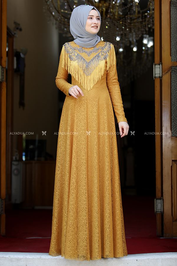 Rana Zenn - Hardal Yaprak Abiye - RZ13900