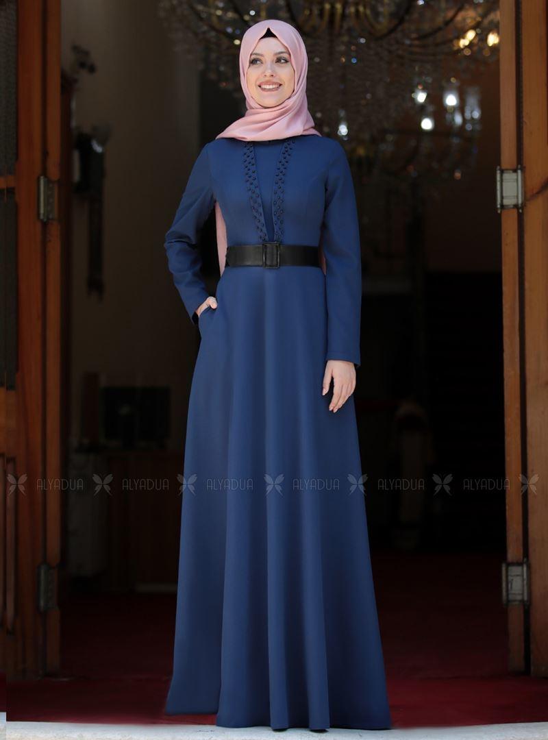 Semra Aydın - İndigo Ada İncili Elbise - SA142561