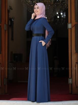 İndigo Ada İncili Elbise - SA142561 - Thumbnail