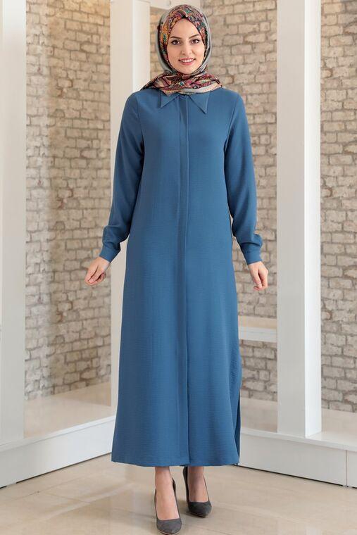 Fashion Showcase - İndigo Aerobin Gizli Düğmeli Uzun Tunik - FS15701