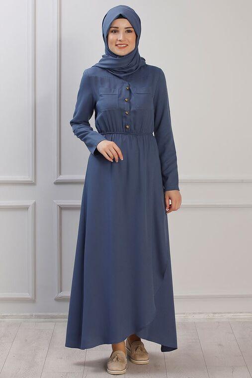 Rana Zenn - İndigo Ayça Elbise - RZ153383