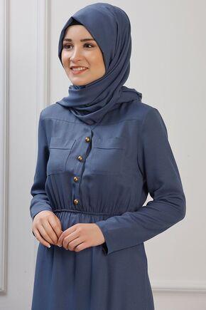 İndigo Ayça Elbise - RZ153383 - Thumbnail