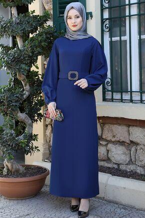 Emsale - İndigo Aycan Elbise - ES15880