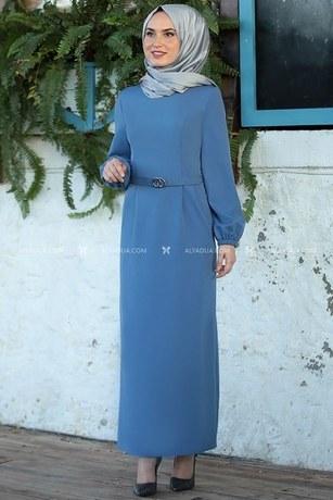 MDV Collection - İndigo Balon Kol Elbise - AD14147