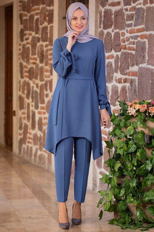 Fashion Showcase - İndigo Beli Bağcıklı Çarpraz Takım - FS15437