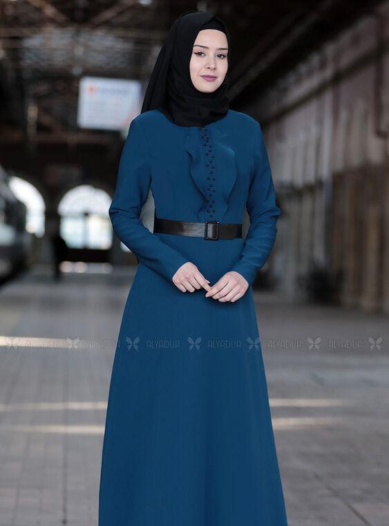 İndigo Ela Elbise - SFN15013