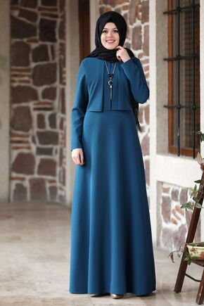 Nidya Moda - İndigo Eylül Elbise - NM15792
