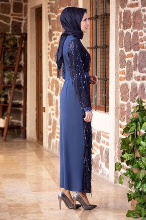 İndigo Firuze Elbise - FS16485 - Thumbnail