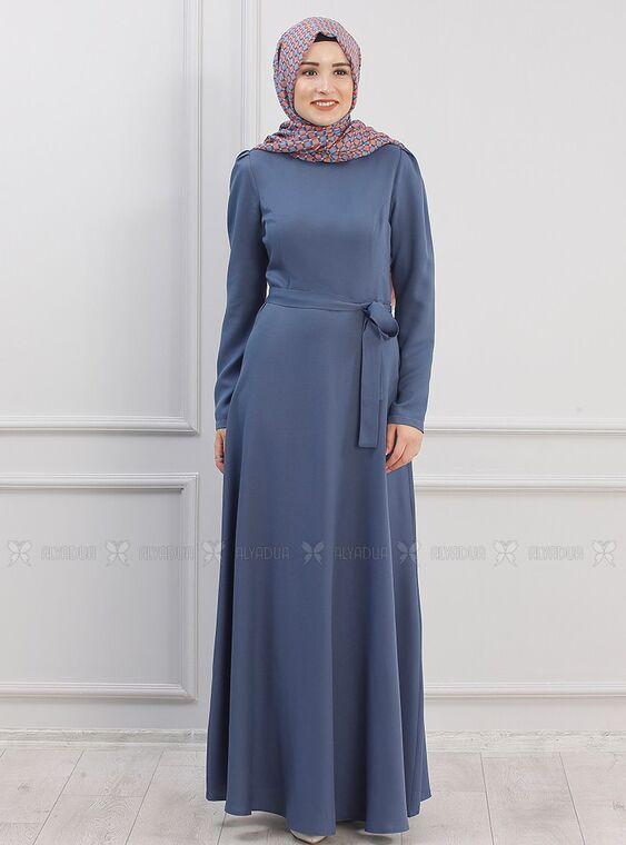 Piennar - İndigo Hazal Elbise - PN15294