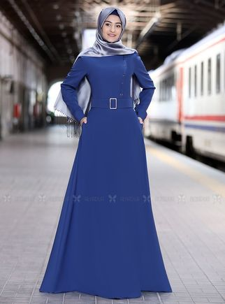 Rabeysa - İndigo Hilal Elbise - RS14321