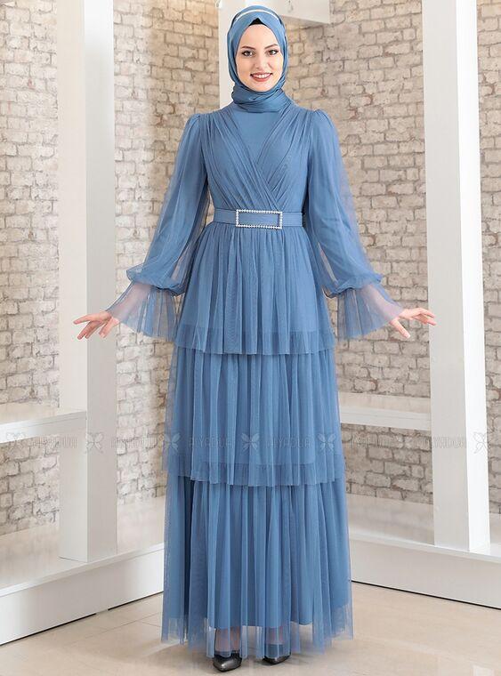 Fashion Showcase - İndigo Katlı Kemerli Tül Abiye - FS15182