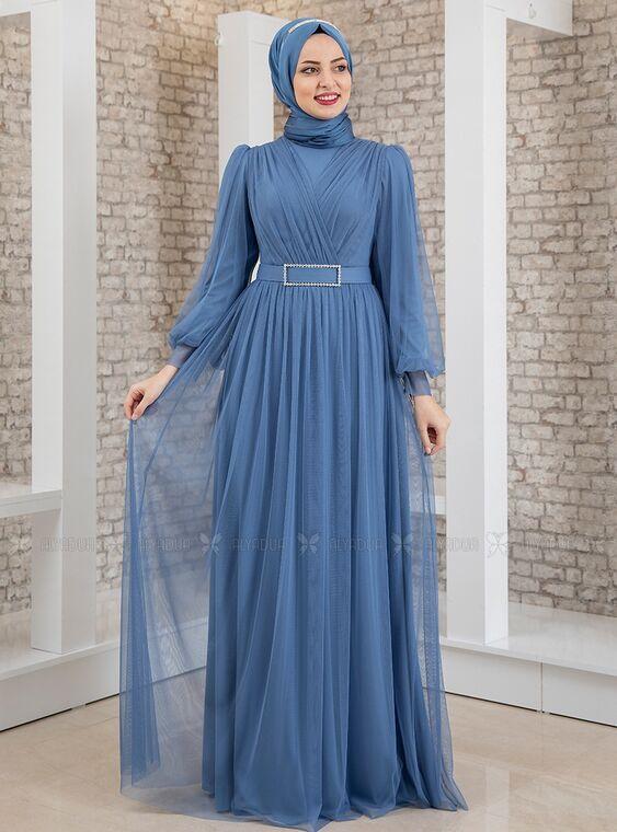 Fashion Showcase - İndigo Kemeri Taşlı Tül Detay Abiye - FS15196