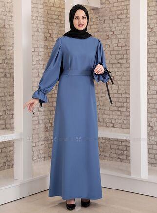 Fashion Showcase - İndigo Kolu Bağcıklı Tesettür Elbise - FS15215