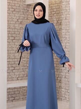 İndigo Kolu Bağcıklı Tesettür Elbise - FS15215 - Thumbnail