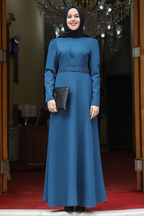Nidya Moda - İndigo Nergis Elbise - NM15948