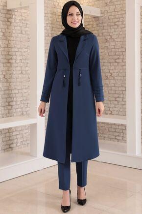 Fashion Showcase - İndigo Nervürlü İkili Takım - FS15695