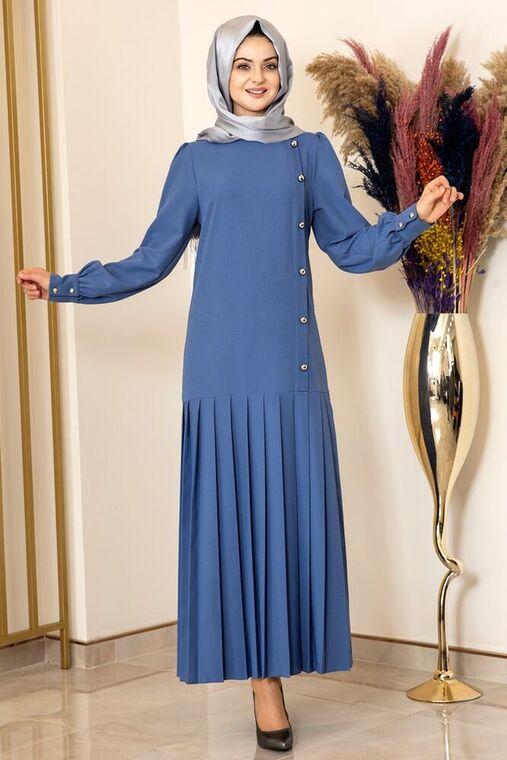 Fashion Showcase - İndigo Piliseli Damla Elbise - FS15847
