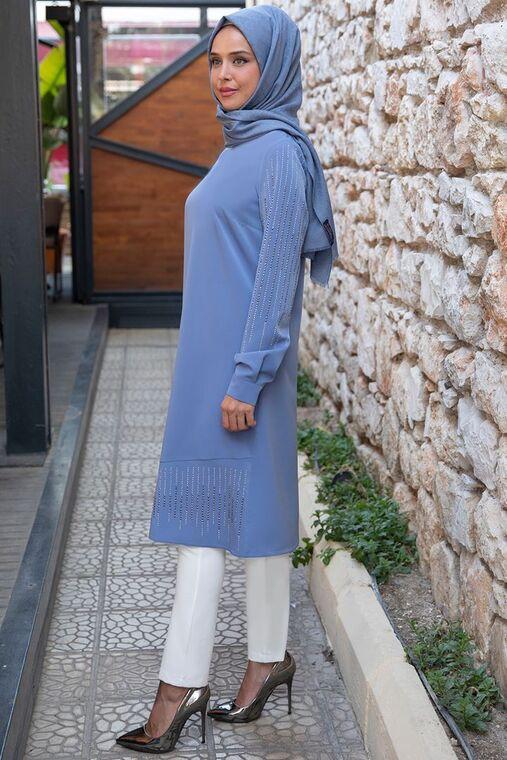 İndigo Taş Detaylı Tunik - ES15398