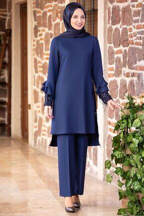 Fashion Showcase - İndigo Volan Kol Payet Detay Takım - FS15501