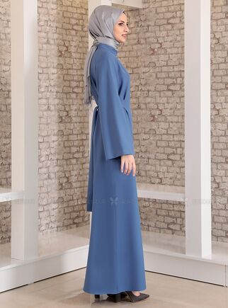 İndigo Yonca Abaya Elbise - FS15210 - Thumbnail