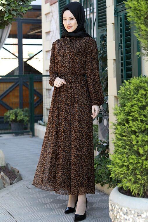 Emsale - Kahverengi Lorin Elbise - ES15891
