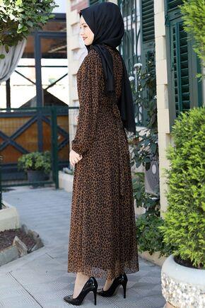 Kahverengi Lorin Elbise - ES15891 - Thumbnail